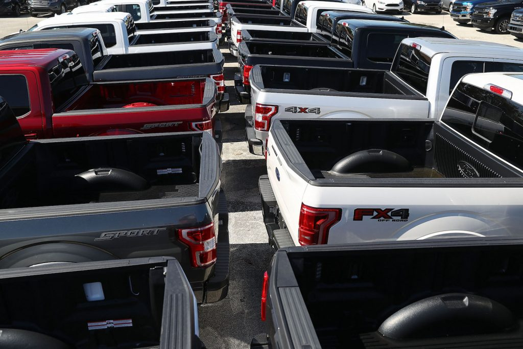 Ford F-150 pickup truck beds, truck toolboxes are installed in pickup beds