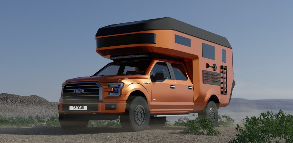 An image of a Ford F-150 with a custom-built carbon fiber camper.