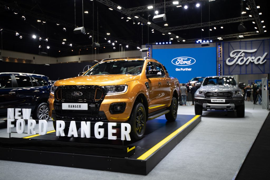 Gold Ford Ranger as a new model on display during the Thailand International Motor Expo 2020 at Impact Challenger Muang Thong Thani