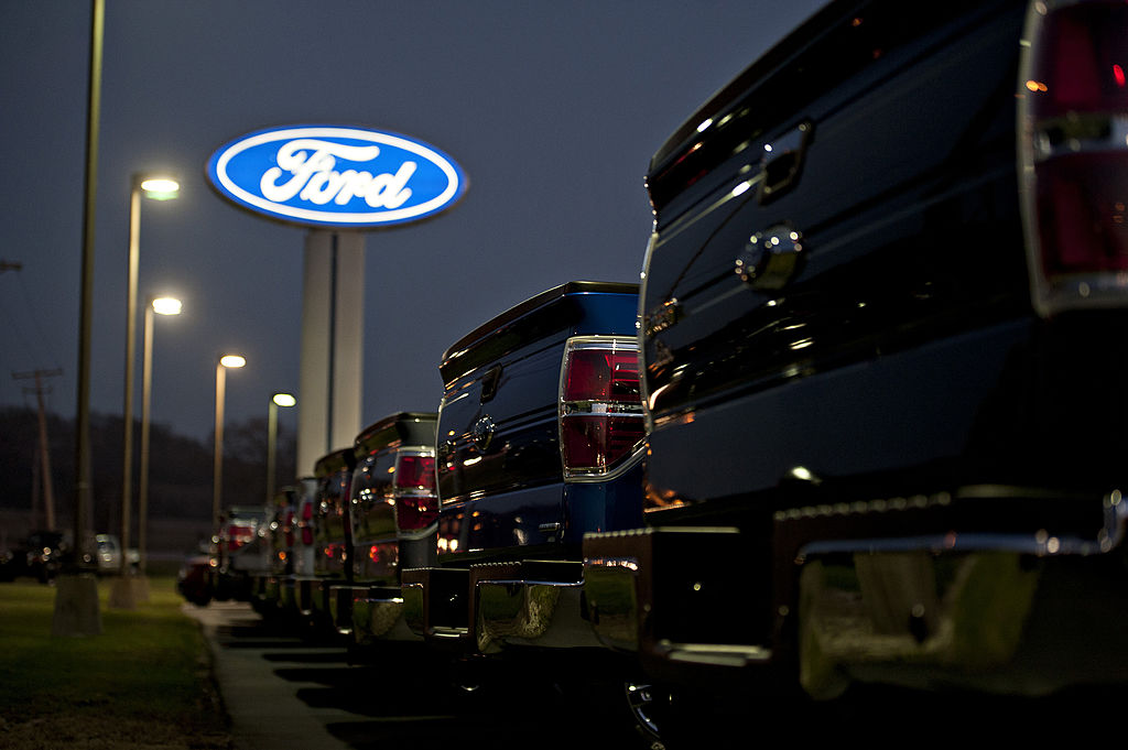 rows of Ford pickup trucks