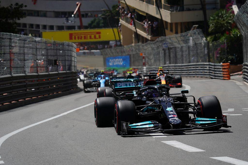 A Mercedes Formula 1 car on the track