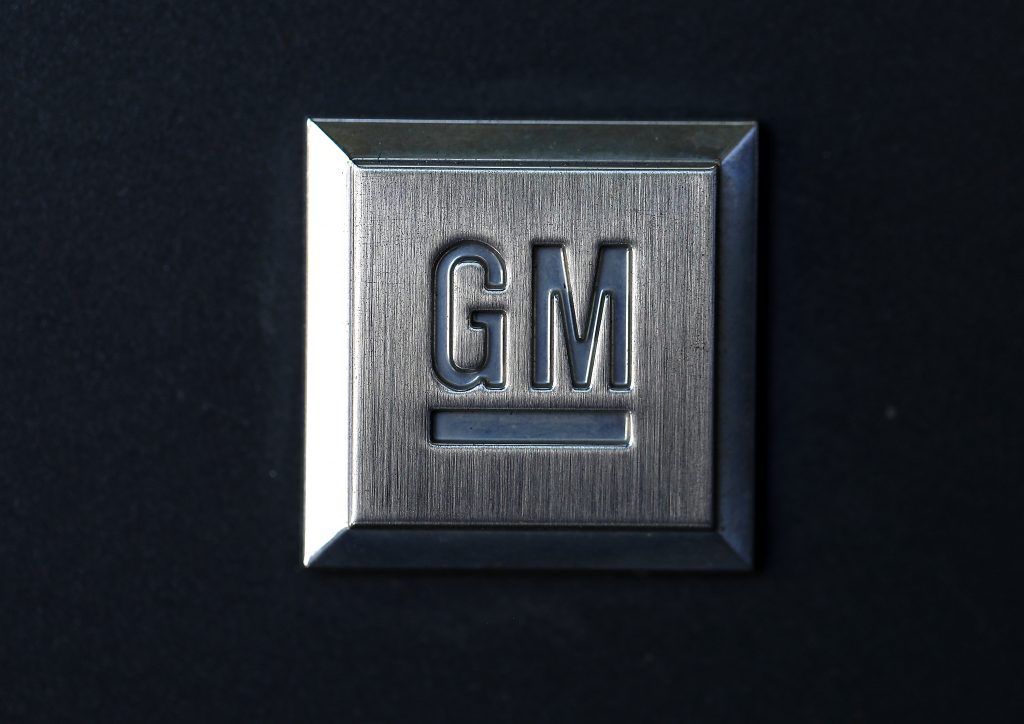 The General Motors logo on display. GM is sending a lunar rover to the moon.