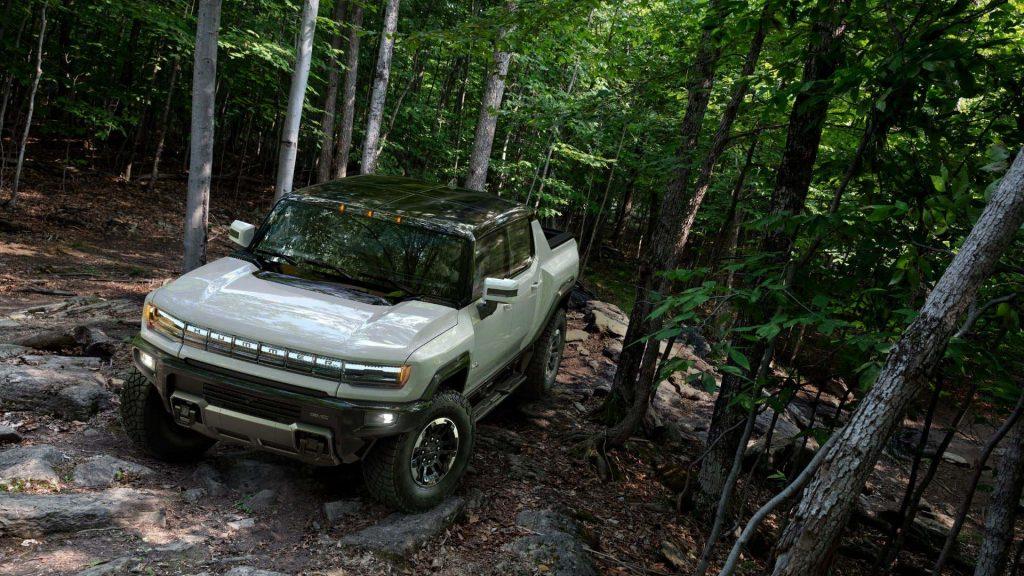 GMC Hummer EV in forest