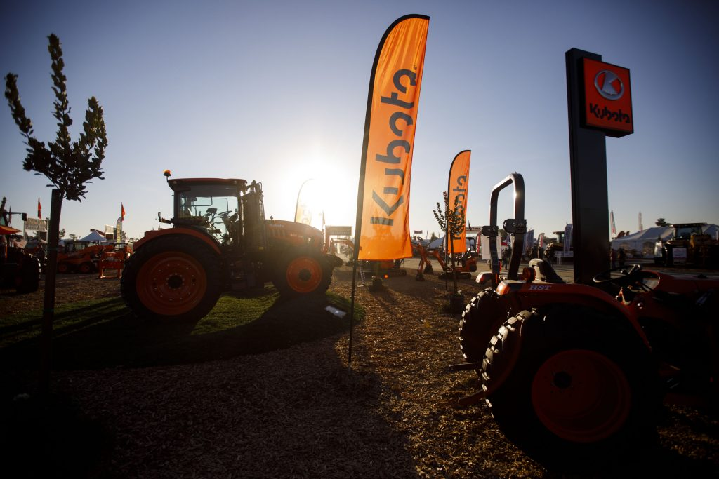 Kubota tractors exhibited at an agricultural fair in rural America