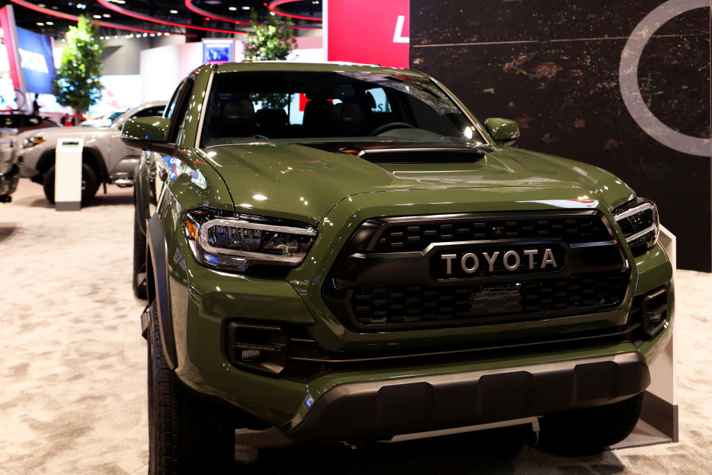 The popular 2020 Toyota Tacoma midsize pickup truck on display at the 112th Annual Chicago Auto Show