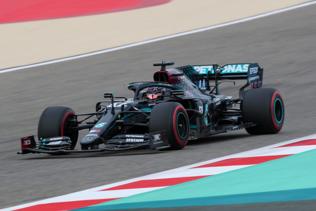 An image of a Mercedes-AMG Formula 1 car out on the track.