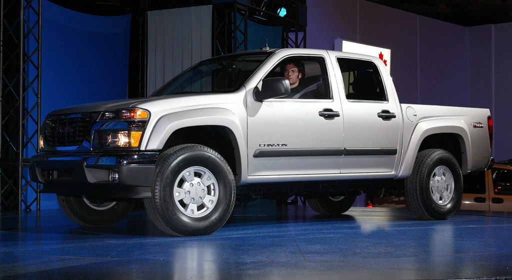 An image of a Chevy Canyon parked indoors.