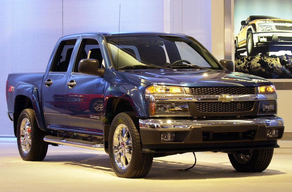 An image of a Chevrolet Colorado parked indoors.