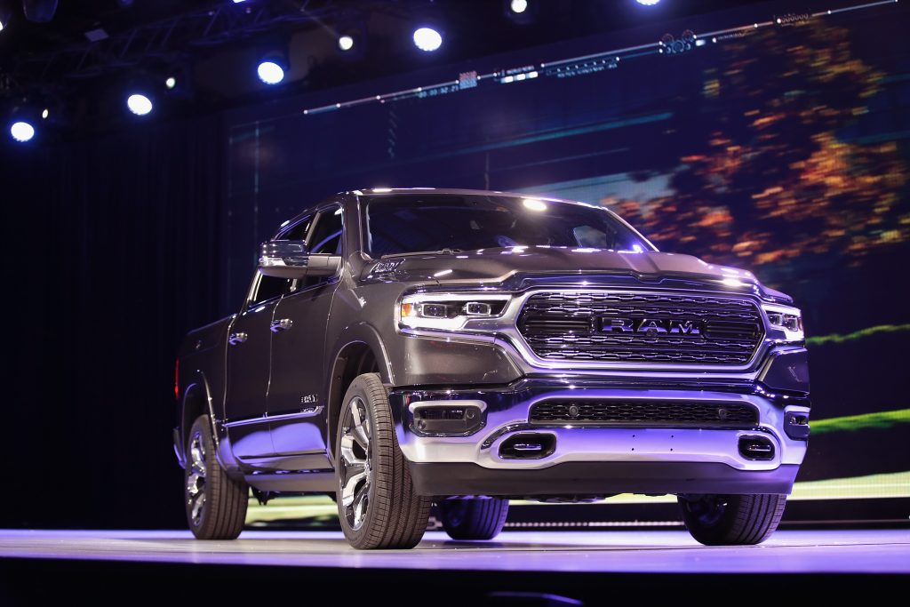 a 2021 ram 1500 pickup truck from the full-size truck segment on display at an auto show.