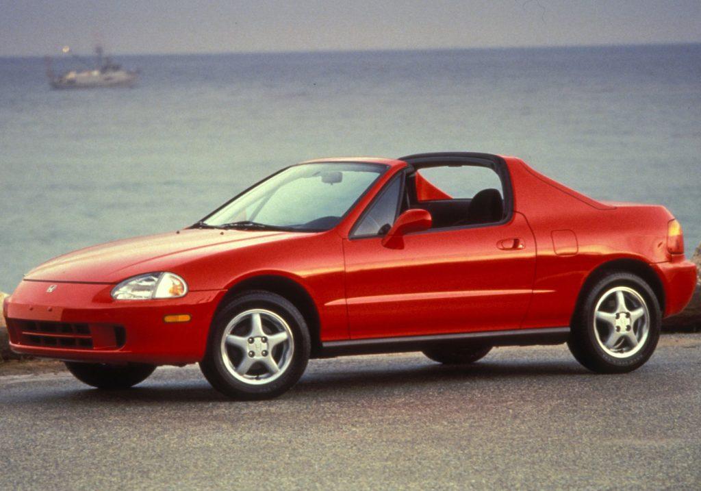 a red 1995 Honda Del Sol