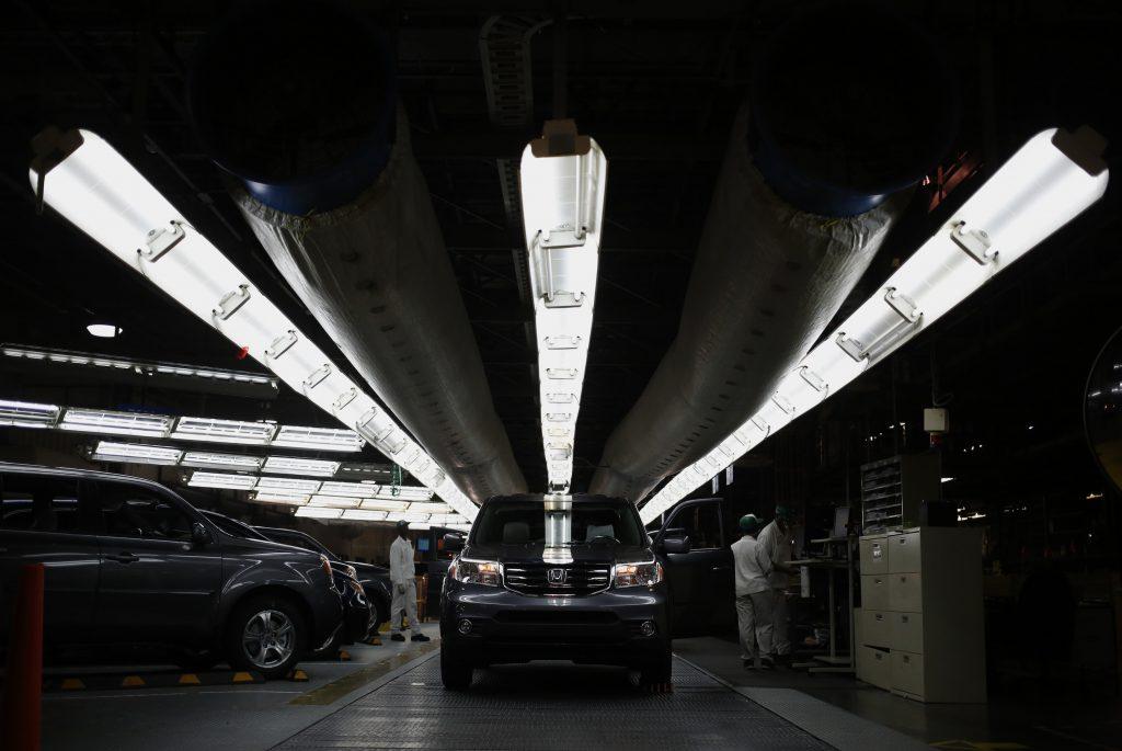 Black Honda Pilot SUVs go through final inspection on the assembly line at Honda Manufacturing of Alabama, LLC in Lincoln, Alabama, U.S.