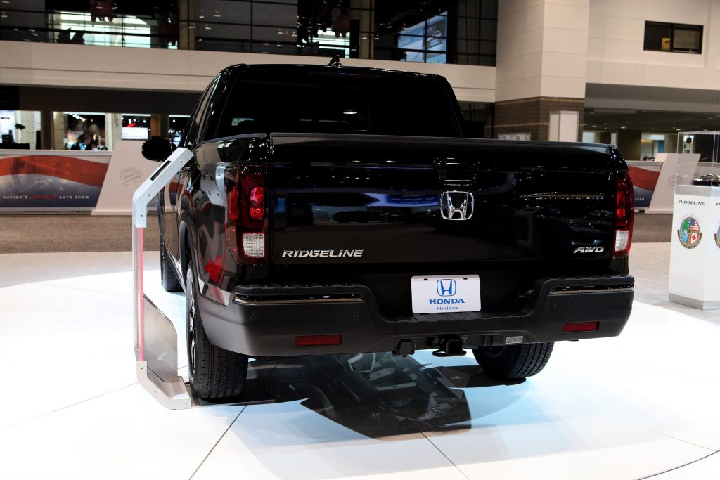 Black 2017 Honda Ridgeline is on display at the 109th Annual Chicago Auto Show at McCormick Place