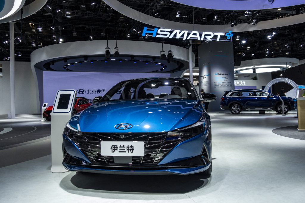 A blue Hyundai Elantra car is on display during the 19th Shanghai International Automobile Industry Exhibition