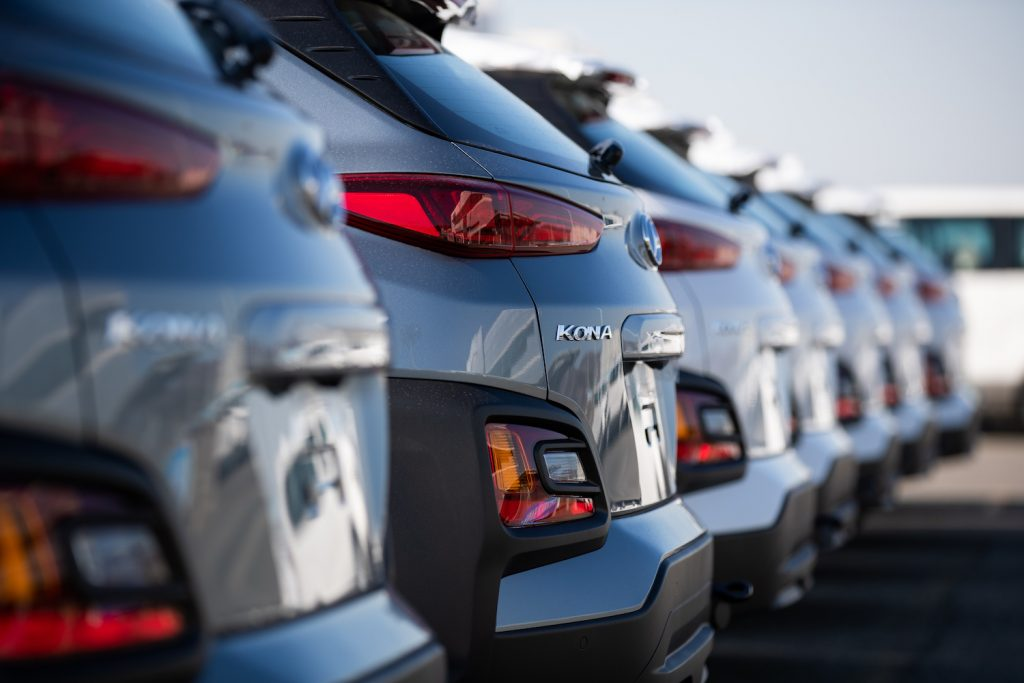A lineup of Hyundai Kona models, the Kona is included in the latest Hyundai recall.