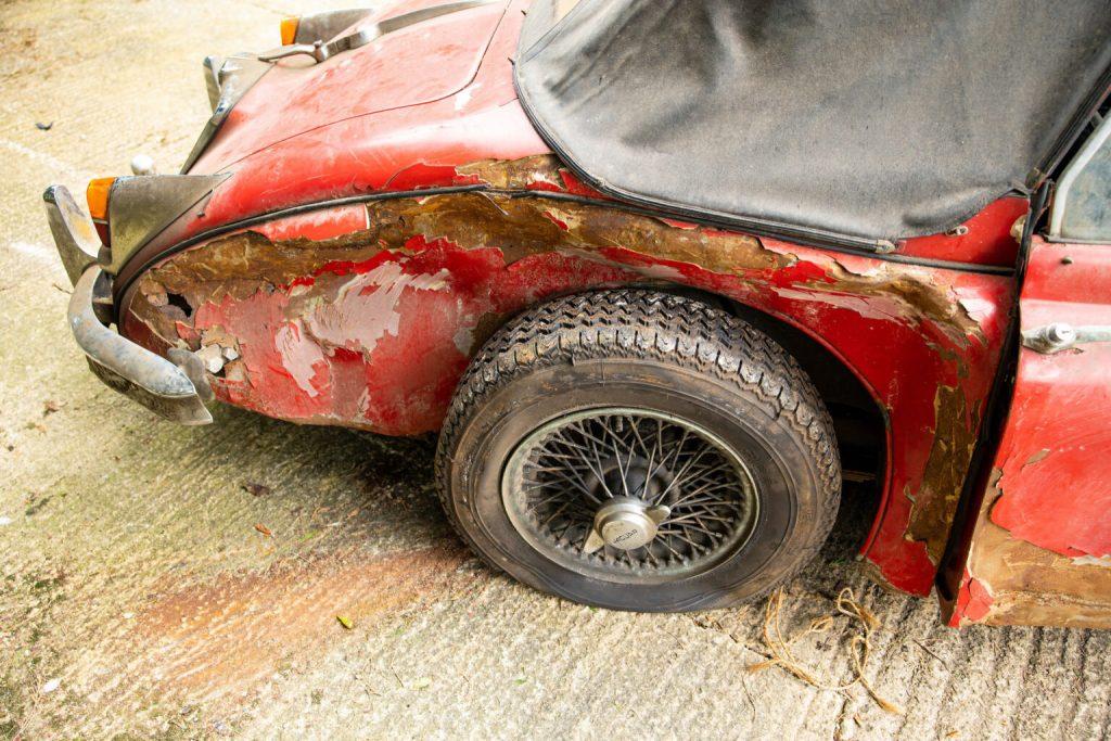Back quarter panel of a vintage Jaguar