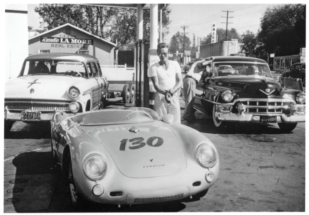 James Dean gassing up Porsche