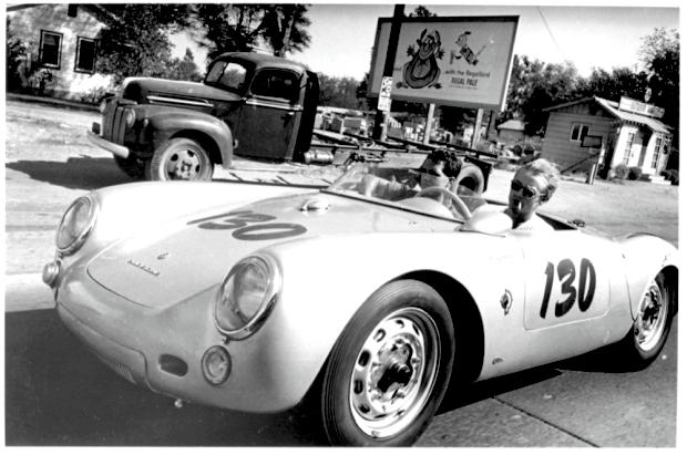 James Dean driving Porsche Spyder