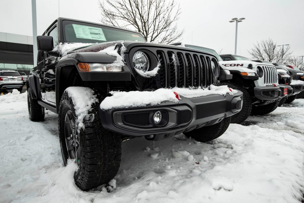 A Jeep Wrangler Rubicon is seen at a Fiat Chrysler Automobiles FCA dealership in Gurnee, Illinois