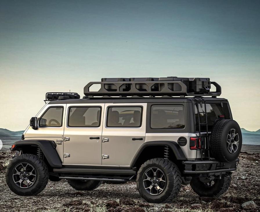 Jeep Wrangler van rendering rear 3/4 view