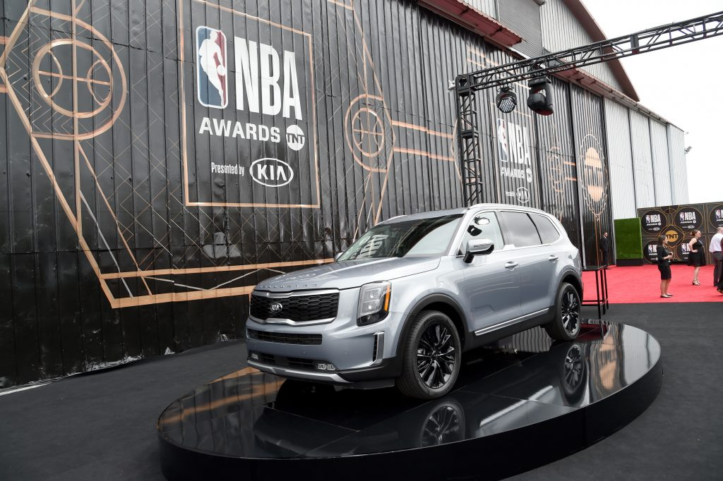 A silver Kia Telluride is seen during the 2019 NBA Awards presented by Kia on TNT at Barker Hangar on June 24, 2019