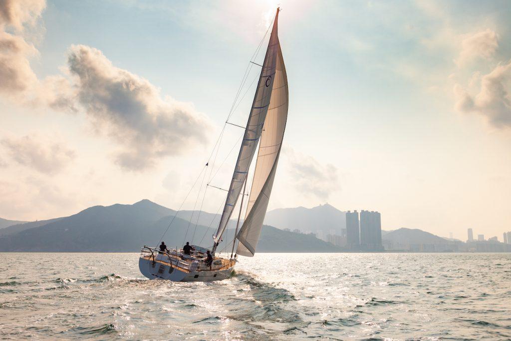 The Kraken50 sailing yacht approaching shore