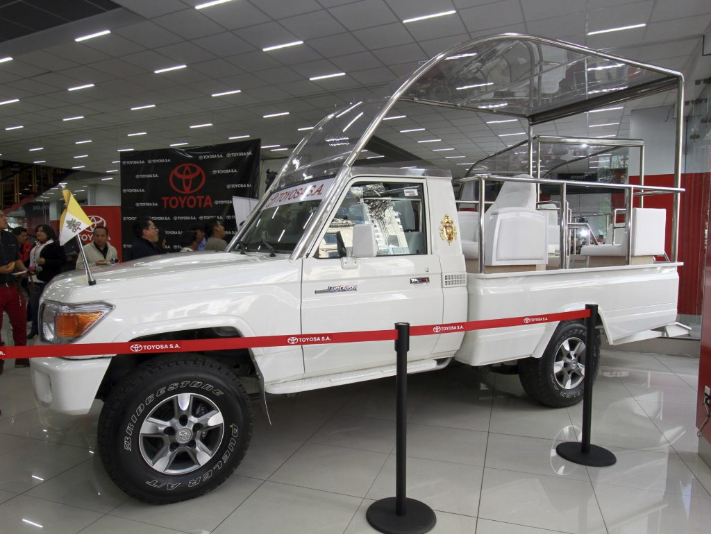 A bulletproof Toyota Land Cruiser modified to be the Popemobile
