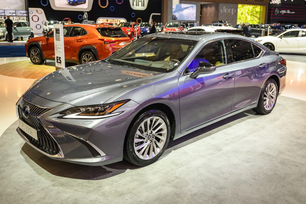 Gray Lexus ES 300h luxury hybrid sedan on display at Brussels Expo