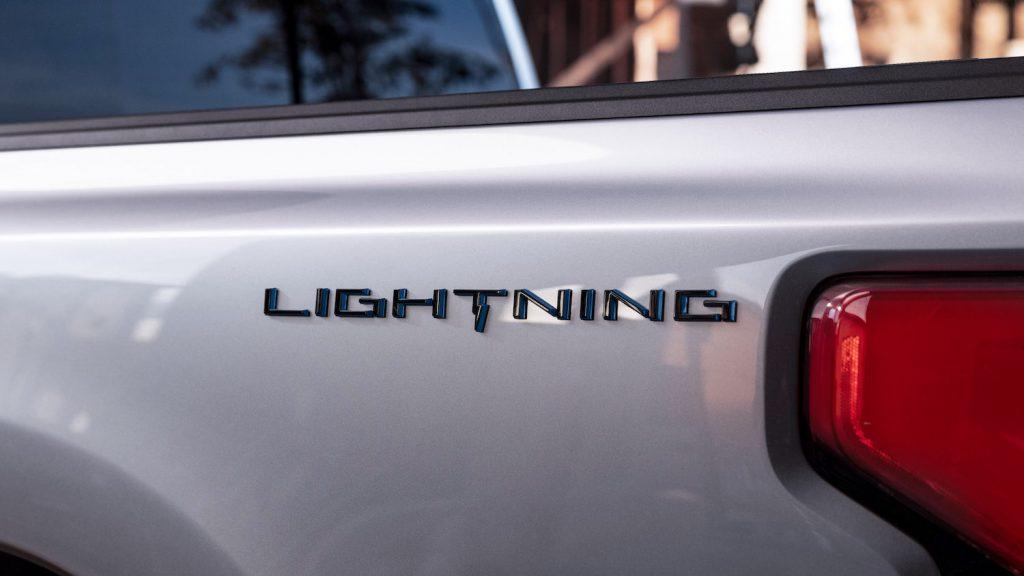The rear of a Ford F-150 Lightning EV pickup