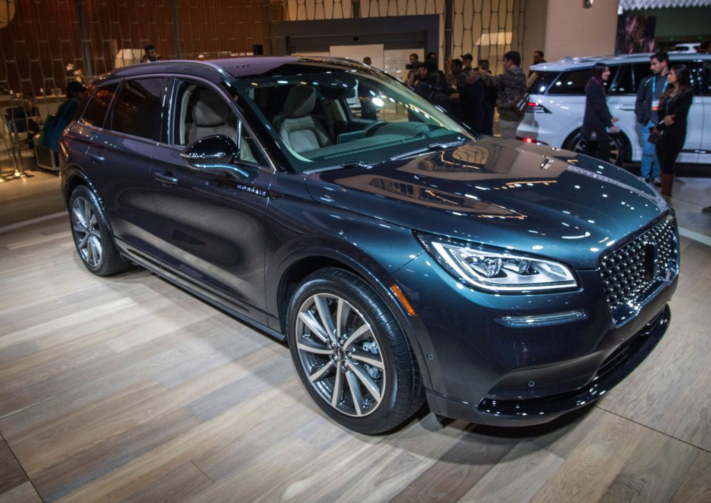 The blue 2020 Lincoln Corsair Grand Touring car on display at the 2019 Los Angeles Auto Show in Los Angeles, California