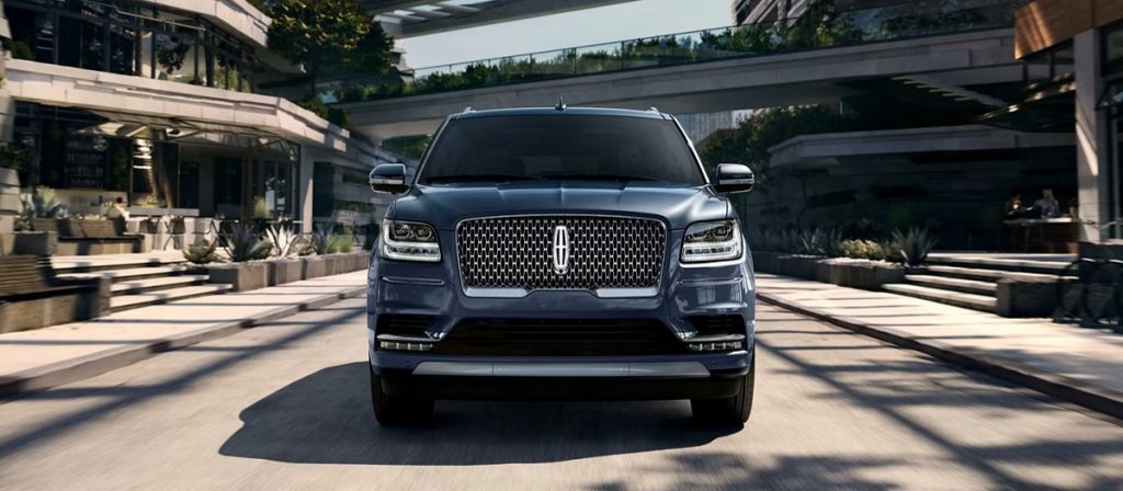 A 2021 Lincoln Navigator on the road.