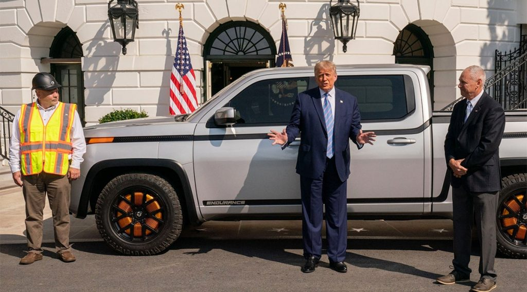 Lordstown Motors Endurance truck with Trump at press conference