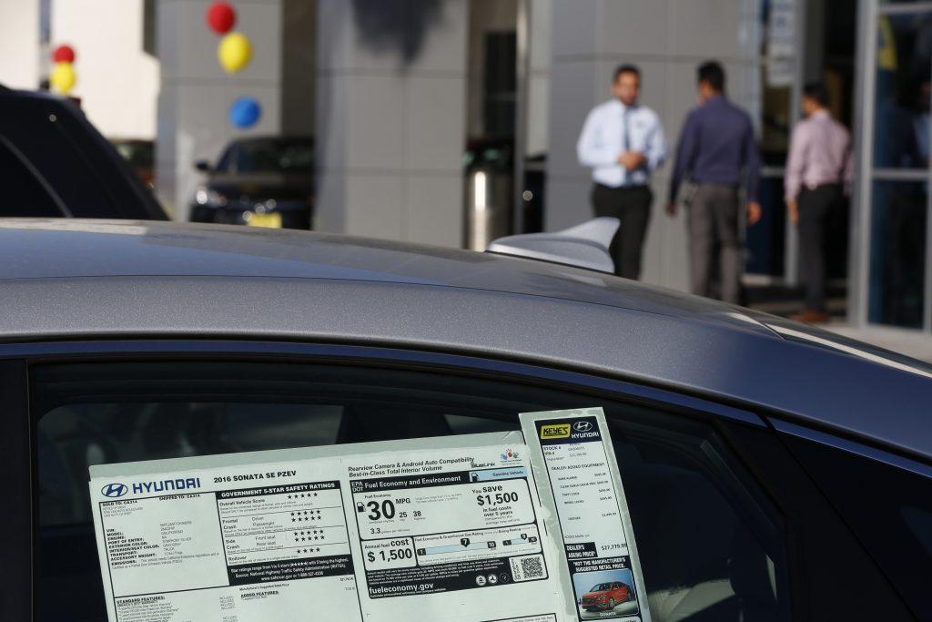 Dealer fees, including destination fees, on a new car sticker.