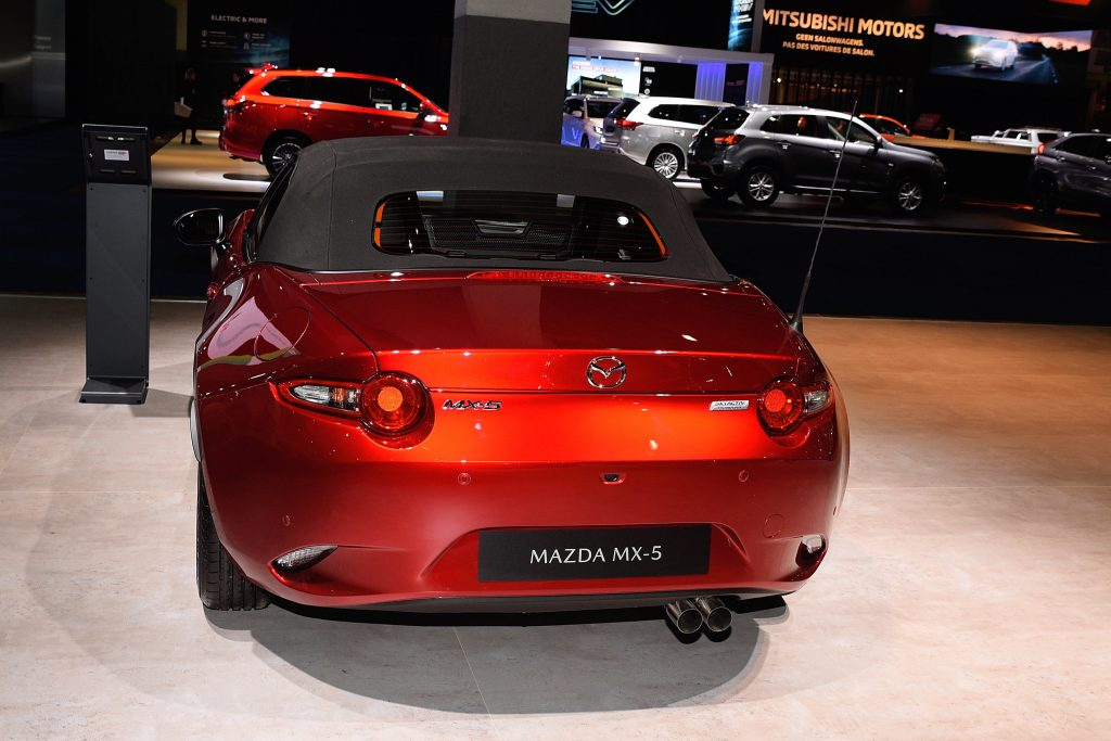 The red Mazda MX-5 on display at the Brussels Motor Show
