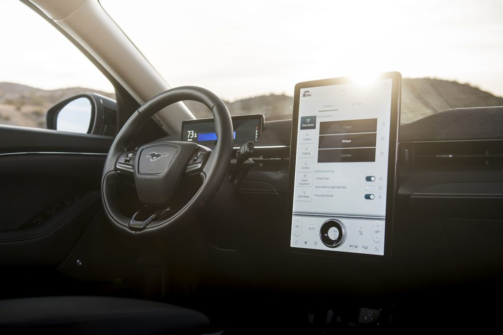 The touchscreen display in a 2021 Ford Mustang Mach-E