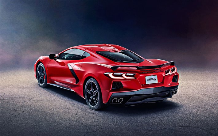 New red Corvette rear 3/4 view