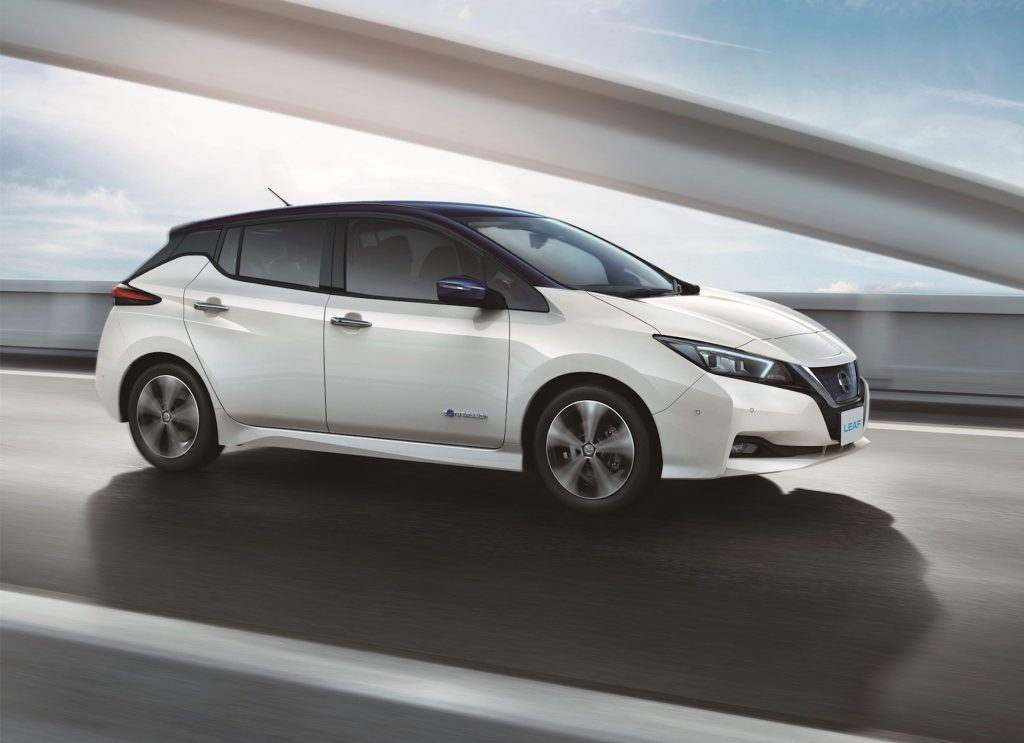 An image of a Nissan LEAF out on the road.