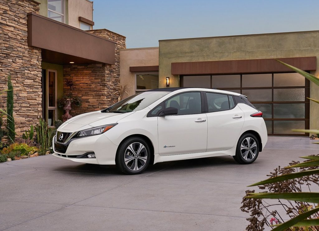 An image of a Nissan LEAF parked outdoors.
