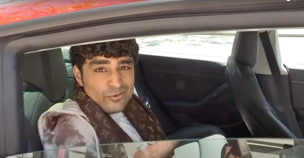 Tesla back seat driver Pharma Sharma