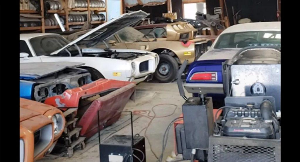 a garage full of vintage Pontiac Firebird barn finds