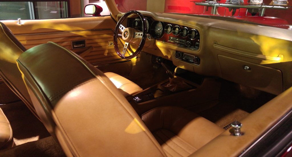 The leather front seats and dashboard of the 1970 Pontiac Pegasus Concept