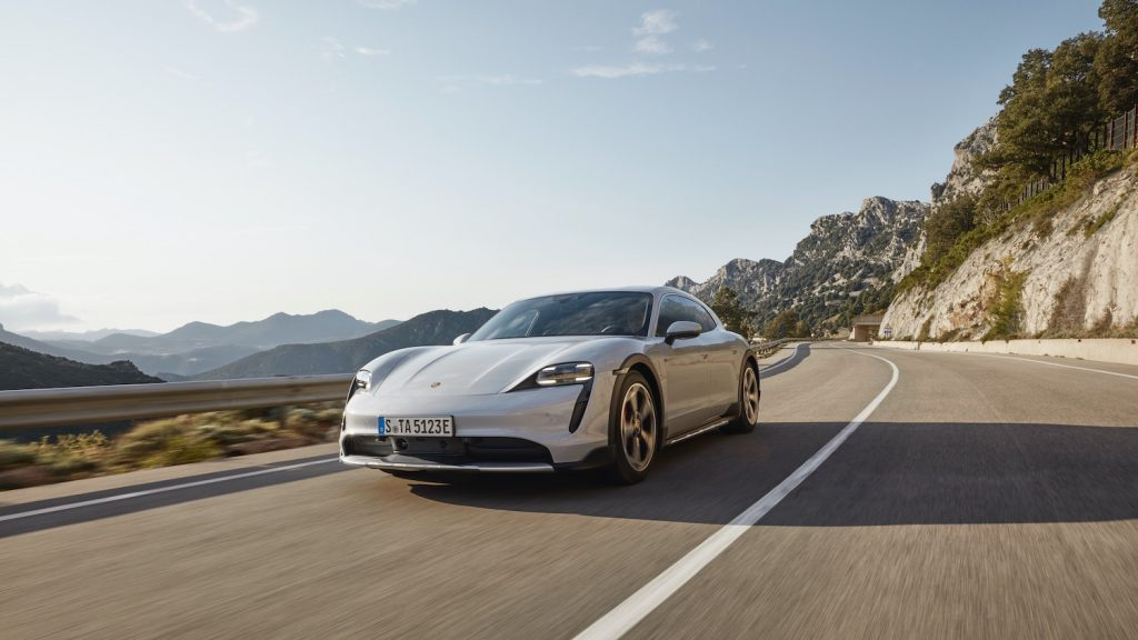 Porsche Taycan driving, one of the best luxury EVs according to Truecar