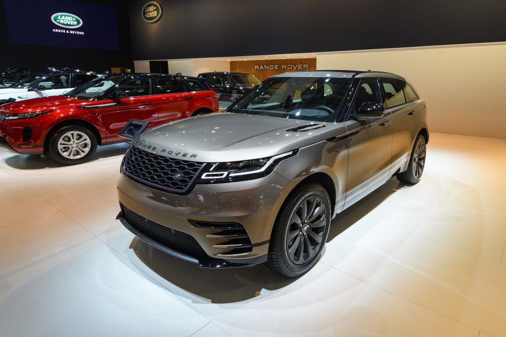 Gray Range Rover Velar crossover luxury SUV on display at Brussels Expo