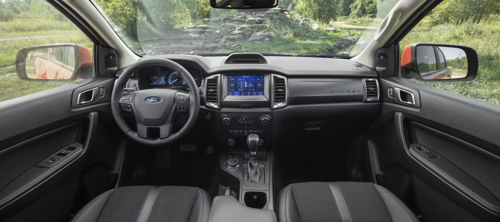 The black and grey interior of the 2021 Ford Ranger