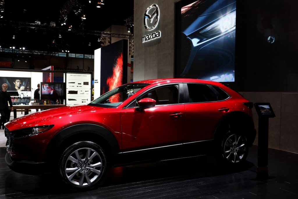 Red 2020 Mazda CX-30 is on display at the 112th Annual Chicago Auto Show