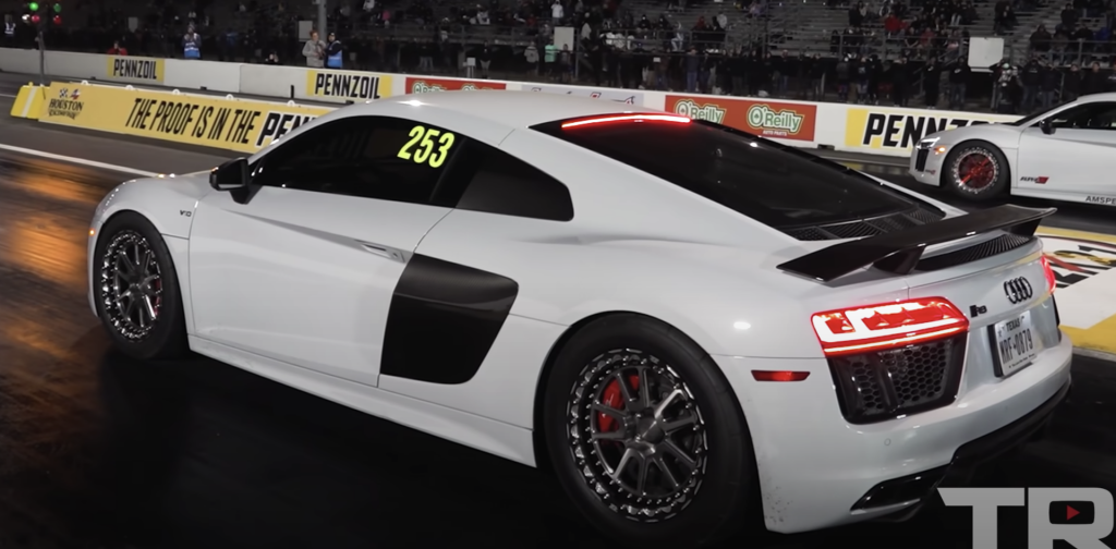An image of an Audi R8 out on a race track.