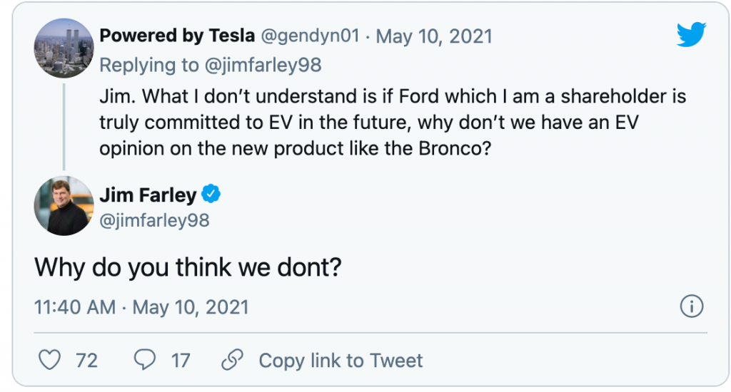 tweet response from Ford CEO about the possibility of an electric Ford Bronco