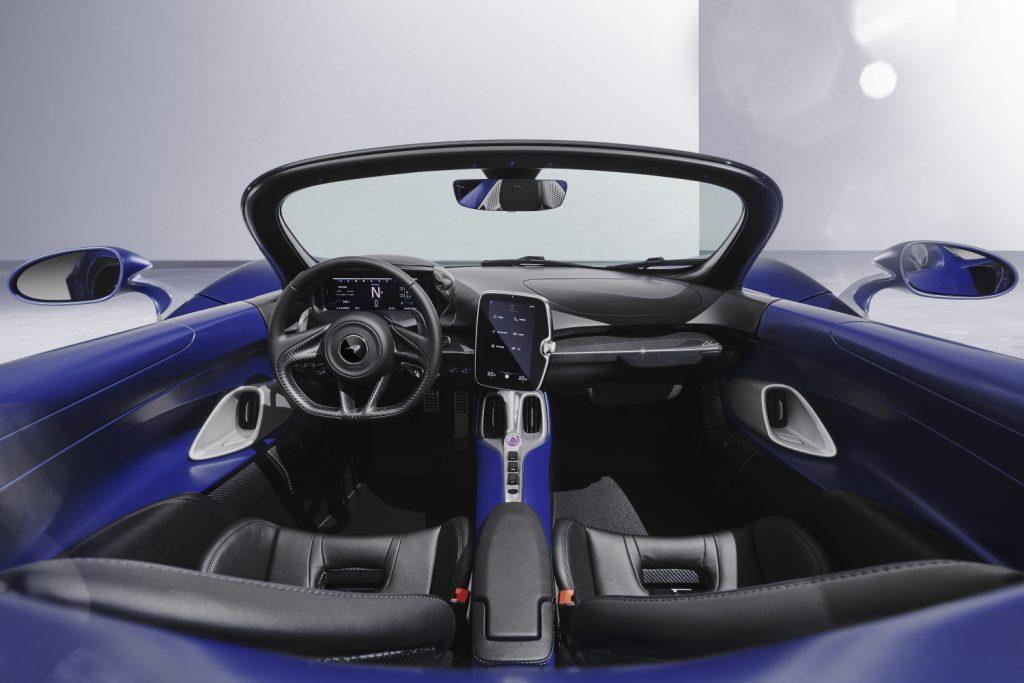 An image of a 2021 McLaren Elva parked inside of a photo studio.