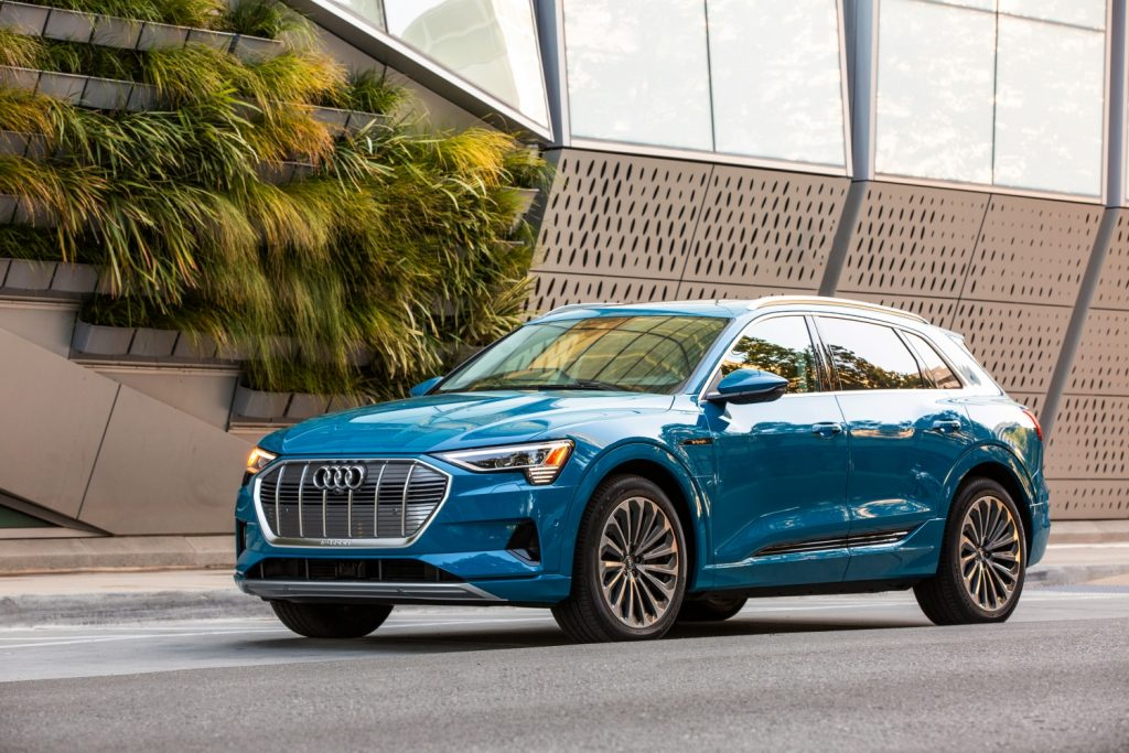 A blue 2021 Audi e-tron on the street
