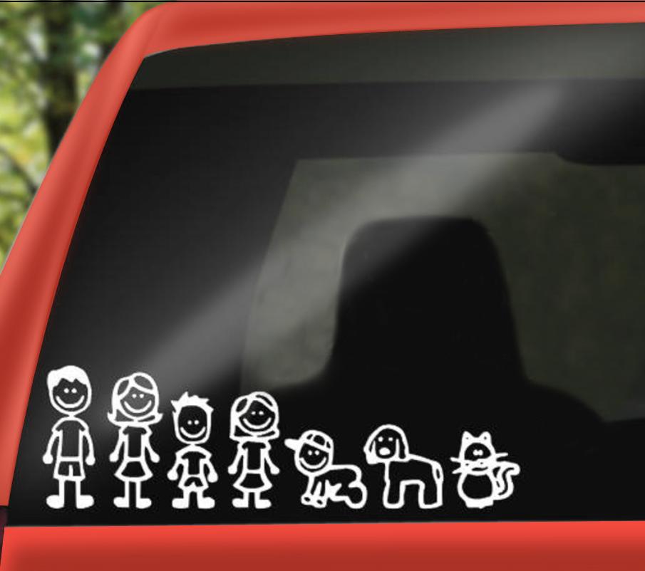 stick figure decals in minivan back window