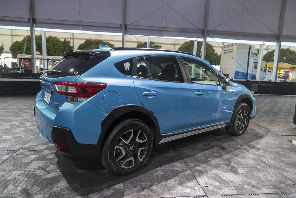 The blue Subaru Crosstrek plug-ing hybrid is shown at AutoMobility LA